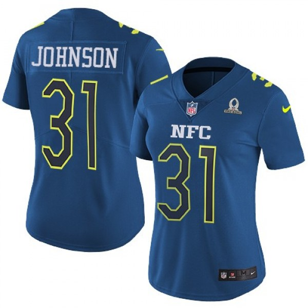 Women's Cardinals #31 David Johnson Navy Stitched NFL Limited NFC 2017 Pro Bowl Jersey