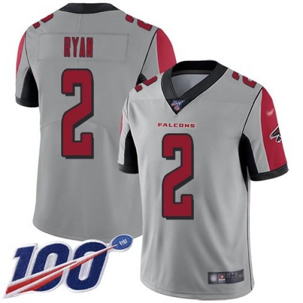 Nike Falcons #2 Matt Ryan Silver Men's Stitched NFL Limited Inverted Legend 100th Season Jersey