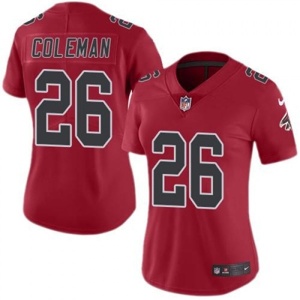 Women's Falcons #26 Tevin Coleman Red Stitched NFL Limited Rush Jersey
