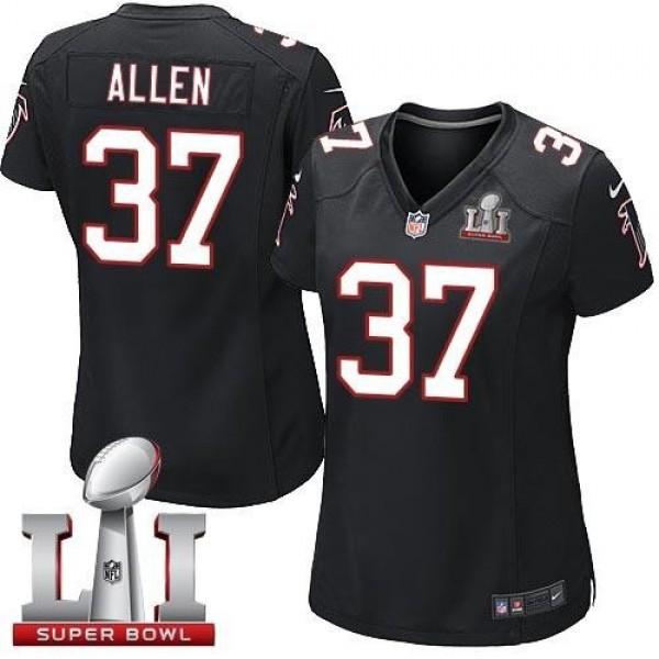 Women's Falcons #37 Ricardo Allen Black Alternate Super Bowl LI 51 Stitched NFL Elite Jersey