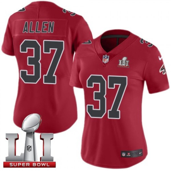 Women's Falcons #37 Ricardo Allen Red Super Bowl LI 51 Stitched NFL Limited Rush Jersey