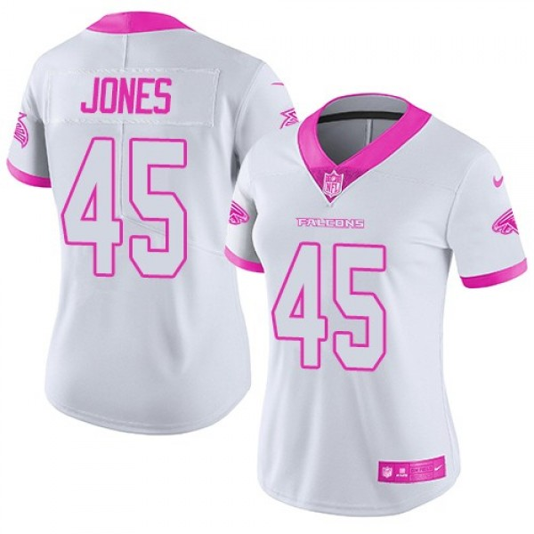 Women's Falcons #45 Deion Jones White Pink Stitched NFL Limited Rush Jersey
