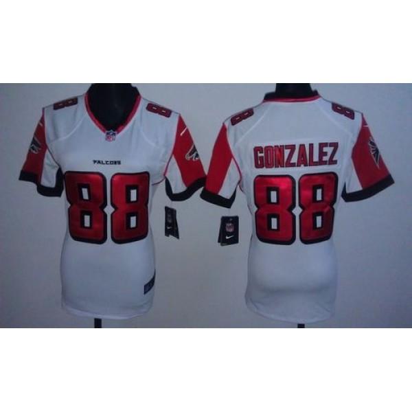 Women's Falcons #88 Tony Gonzalez White Stitched NFL Elite Jersey