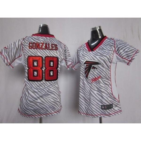 Women's Falcons #88 Tony Gonzalez Zebra Stitched NFL Elite Jersey