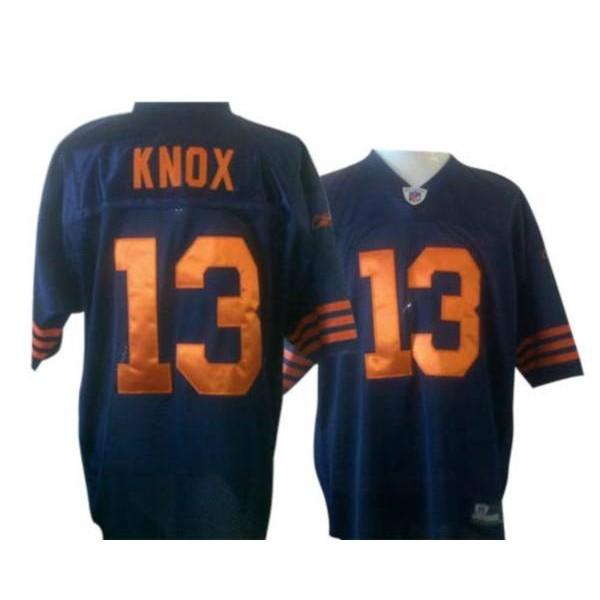 Bears #13 Johnny Knox Blue/Orange 1940s Throwback Stitched NFL Jersey