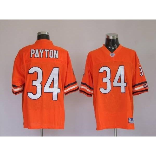 Bears #34 Walter Payton Orange Stitched NFL Jersey