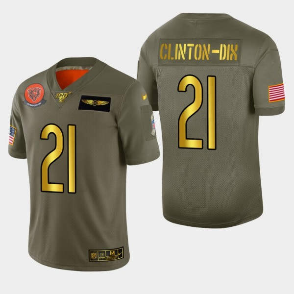 Chicago Bears #21 Ha Ha Clinton-Dix Men's Nike Olive Gold 2019 Salute to Service Limited NFL 100 Jersey