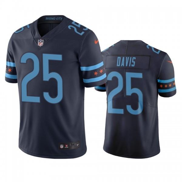 Chicago Bears #25 Mike Davis Navy Vapor Limited City Edition NFL Jersey