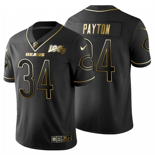 Chicago Bears #34 Walter Payton Men's Nike Black Golden Limited NFL 100 Jersey