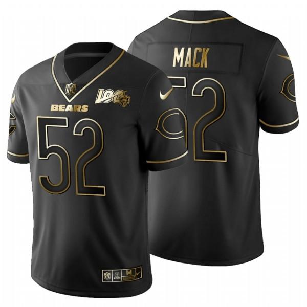 Chicago Bears #52 Khalil Mack Men's Nike Black Golden Limited NFL 100 Jersey