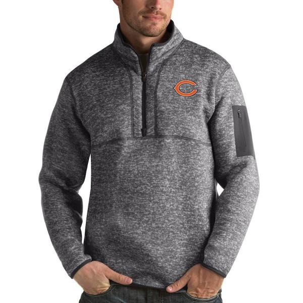 Men's Chicago Bears Charcoal Antigua Fortune Quarter-Zip Pullover Jacket