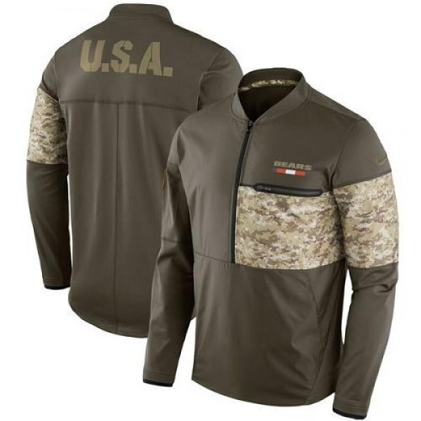 Men's Chicago Bears Nike Olive Salute to Service Sideline Hybrid Half-Zip Pullover Jacket