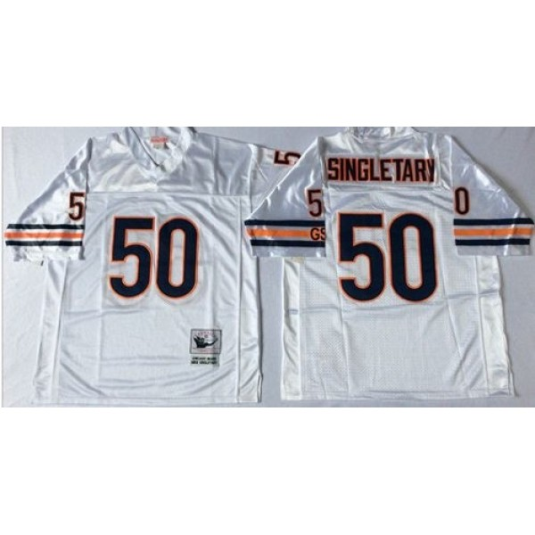 Mitchell&Ness Bears #50 Mike Singletary White Small No. Throwback Stitched NFL Jersey