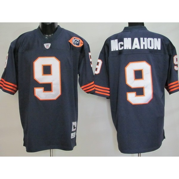 Mitchell & Ness Bears #9 Jim McMahon Blue With Big Number Stitched Throwback NFL Jersey