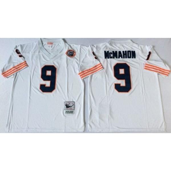 Mitchell&Ness Bears #9 Jim McMahon White Big No. Throwback Stitched NFL Jersey