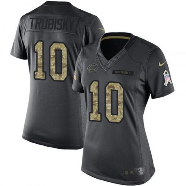 Women's Bears #10 Mitchell Trubisky Black Stitched NFL Limited 2016 Salute to Service Jersey