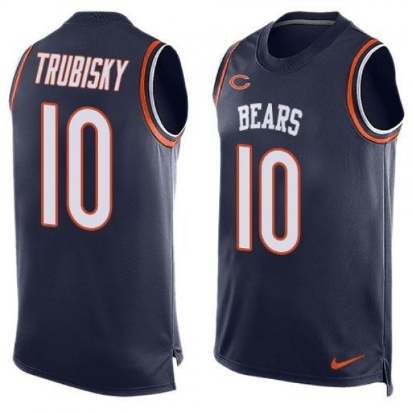 Nike Bears #10 Mitchell Trubisky Navy Blue Team Color Men's Stitched NFL Limited Tank Top Jersey