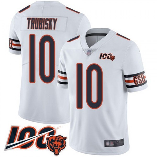 Nike Bears #10 Mitchell Trubisky White Men's Stitched NFL 100th Season Vapor Limited Jersey