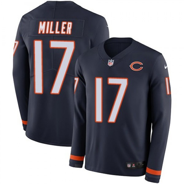 Nike Bears #17 Anthony Miller Navy Blue Team Color Men's Stitched NFL Limited Therma Long Sleeve Jersey