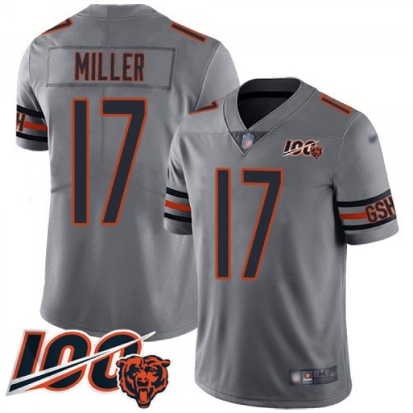 Nike Bears #17 Anthony Miller Silver Men's Stitched NFL Limited Inverted Legend 100th Season Jersey