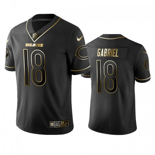 Nike Bears #18 Taylor Gabriel Black Golden Limited Edition Stitched NFL Jersey