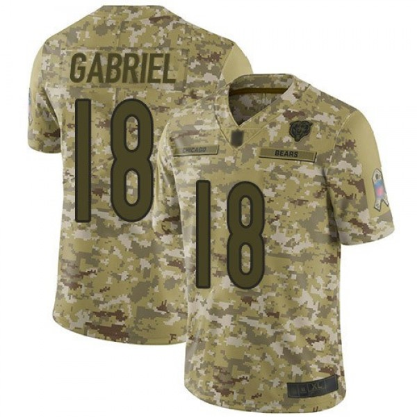 Nike Bears #18 Taylor Gabriel Camo Men's Stitched NFL Limited 2018 Salute To Service Jersey