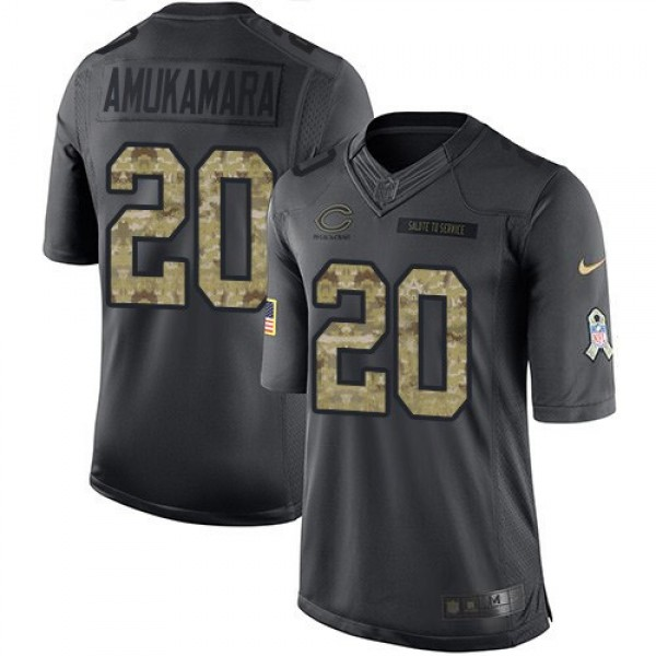Nike Bears #20 Prince Amukamara Black Men's Stitched NFL Limited 2016 Salute to Service Jersey