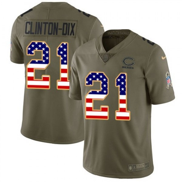 Nike Bears #21 Ha Ha Clinton-Dix Olive/USA Flag Men's Stitched NFL Limited 2017 Salute To Service Jersey