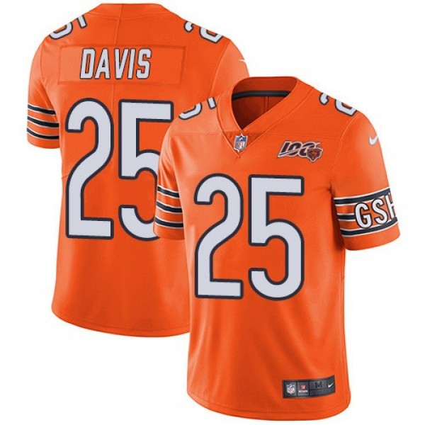 Nike Bears #25 Mike Davis Orange Men's 100th Season Stitched NFL Limited Rush Jersey