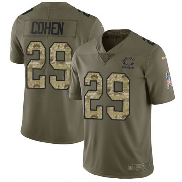 Nike Bears #29 Tarik Cohen Olive/Camo Men's Stitched NFL Limited 2017 Salute To Service Jersey