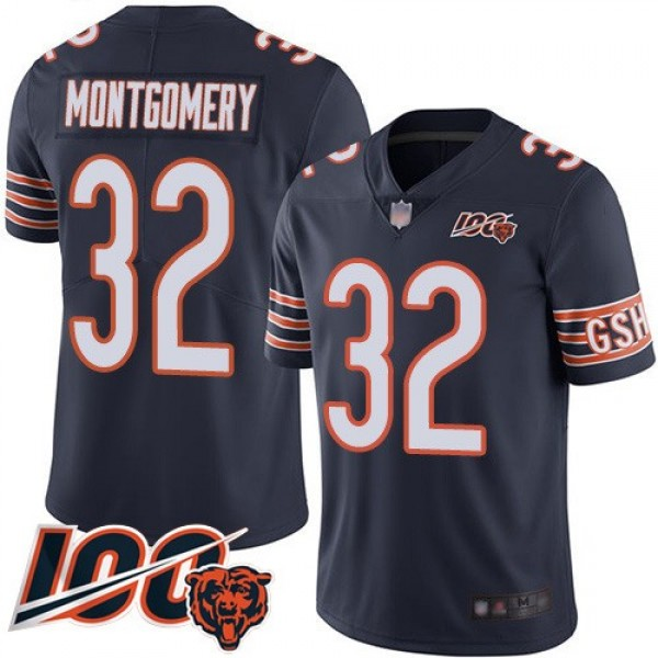 Nike Bears #32 David Montgomery Navy Blue Team Color Men's Stitched NFL 100th Season Vapor Limited Jersey