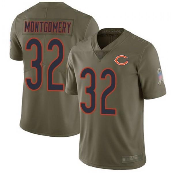 Nike Bears #32 David Montgomery Olive Men's Stitched NFL Limited 2017 Salute To Service Jersey