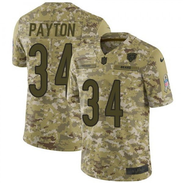 Nike Bears #34 Walter Payton Camo Men's Stitched NFL Limited 2018 Salute To Service Jersey