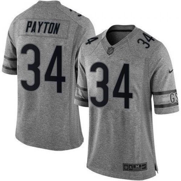 Nike Bears #34 Walter Payton Gray Men's Stitched NFL Limited Gridiron Gray Jersey