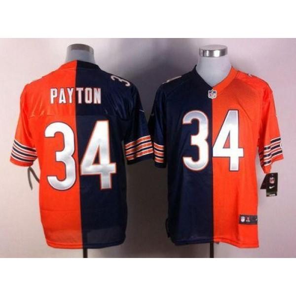 Nike Bears #34 Walter Payton Navy Blue/Orange Men's Stitched NFL Elite Split Jersey