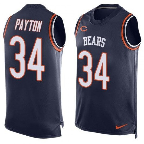 Nike Bears #34 Walter Payton Navy Blue Team Color Men's Stitched NFL Limited Tank Top Jersey