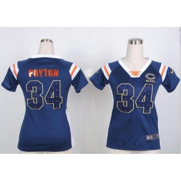Women's Bears #34 Walter Payton Navy Blue Team Color Stitched NFL Elite Draft Him Shimmer Jersey