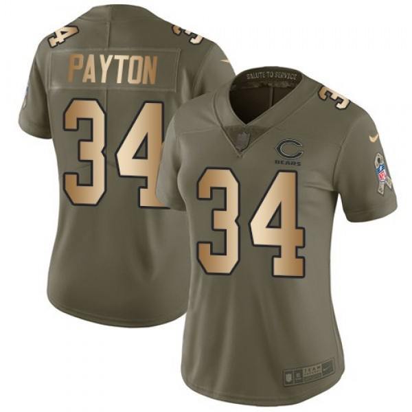Women's Bears #34 Walter Payton Olive Gold Stitched NFL Limited 2017 Salute to Service Jersey