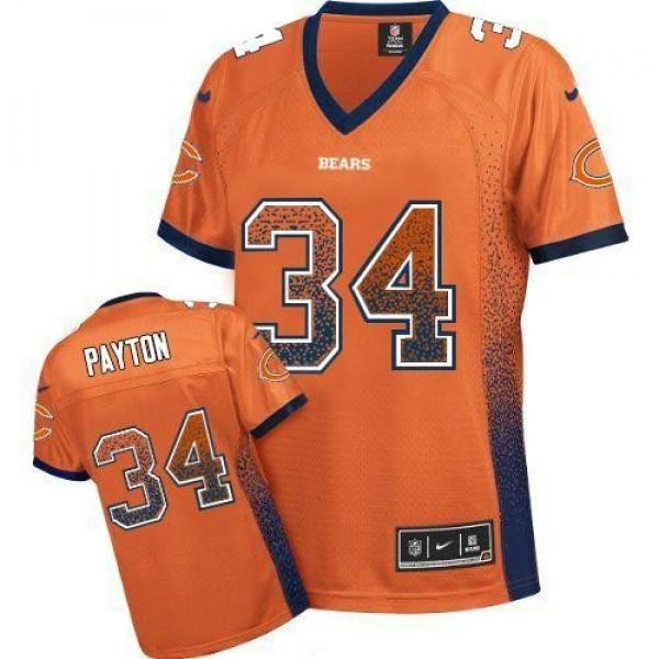 Women's Bears #34 Walter Payton Orange Alternate Stitched NFL Elite Drift Jersey
