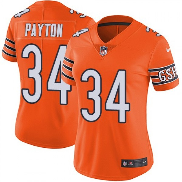 Women's Bears #34 Walter Payton Orange Stitched NFL Limited Rush Jersey