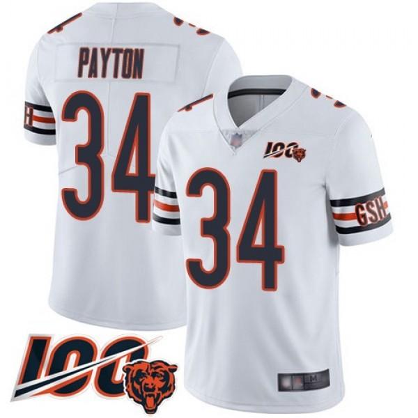 Nike Bears #34 Walter Payton White Men's Stitched NFL 100th Season Vapor Limited Jersey