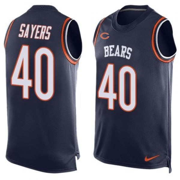 Nike Bears #40 Gale Sayers Navy Blue Team Color Men's Stitched NFL Limited Tank Top Jersey