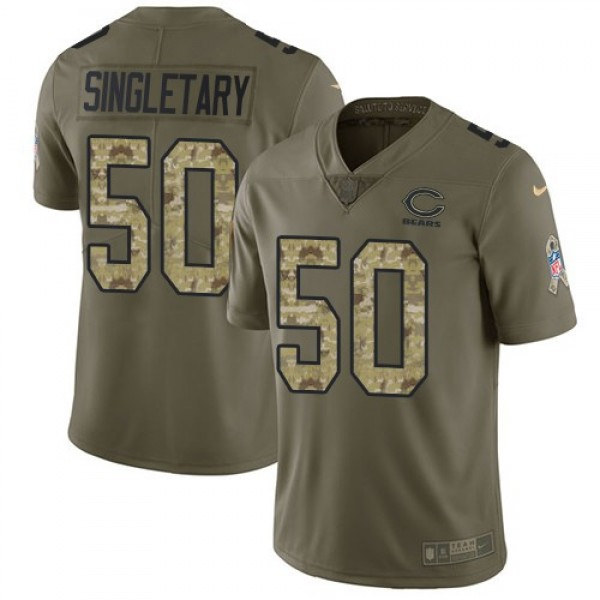Nike Bears #50 Mike Singletary Olive/Camo Men's Stitched NFL Limited 2017 Salute To Service Jersey