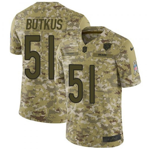Nike Bears #51 Dick Butkus Camo Men's Stitched NFL Limited 2018 Salute To Service Jersey