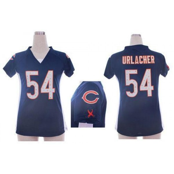 Women's Bears #54 Brian Urlacher Navy Blue Team Color Draft Him Name Number Top Stitched NFL Elite Jersey