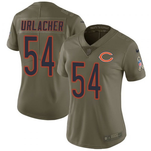 Women's Bears #54 Brian Urlacher Olive Stitched NFL Limited 2017 Salute to Service Jersey
