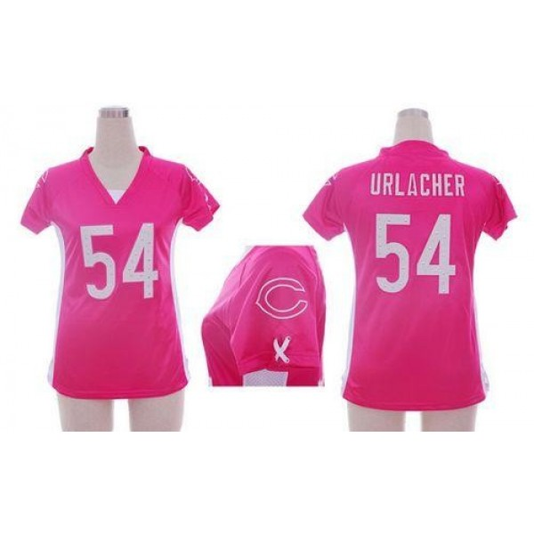 Women's Bears #54 Brian Urlacher Pink Draft Him Name Number Top Stitched NFL Elite Jersey