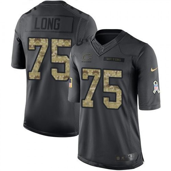 Nike Bears #75 Kyle Long Black Men's Stitched NFL Limited 2016 Salute to Service Jersey