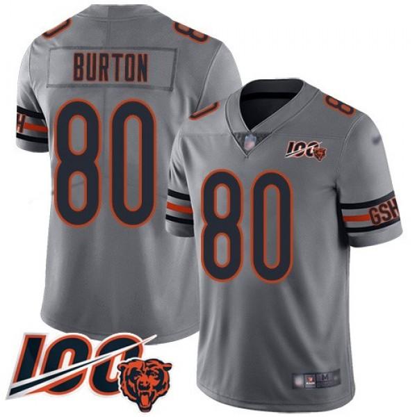Nike Bears #80 Trey Burton Silver Men's Stitched NFL Limited Inverted Legend 100th Season Jersey