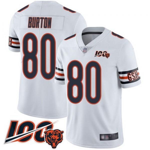 Nike Bears #80 Trey Burton White Men's Stitched NFL 100th Season Vapor Limited Jersey